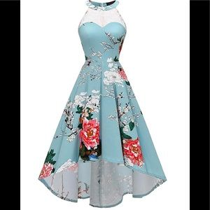 Vintage 50's Halter Floral Lace Hi-Lo Dress
